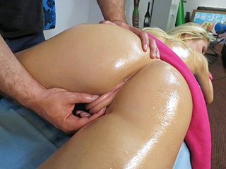 Massage treat and nice cock pounding with scorching hot little blonde