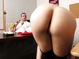 Hot ass blonde hottie Bailey Blue gets fucked by a big cock on a table