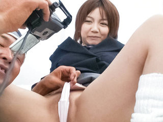 Meguru Kosaka sucks hard cock on her knees